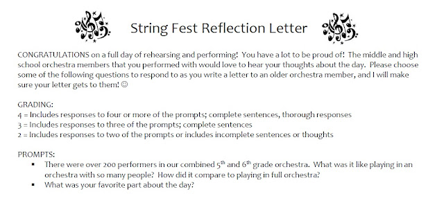 String Fest concert reflection letter