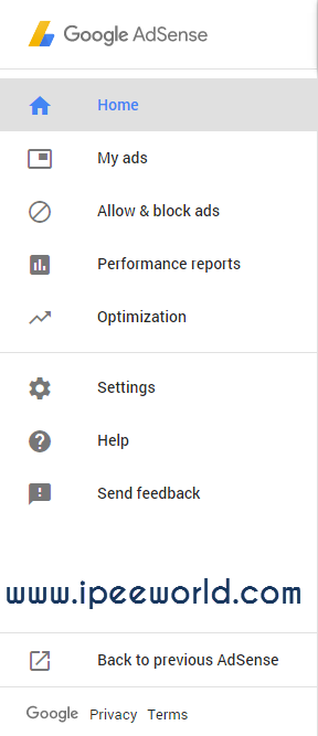 AdSense New UI Vertical Sidebar Navigation Bar