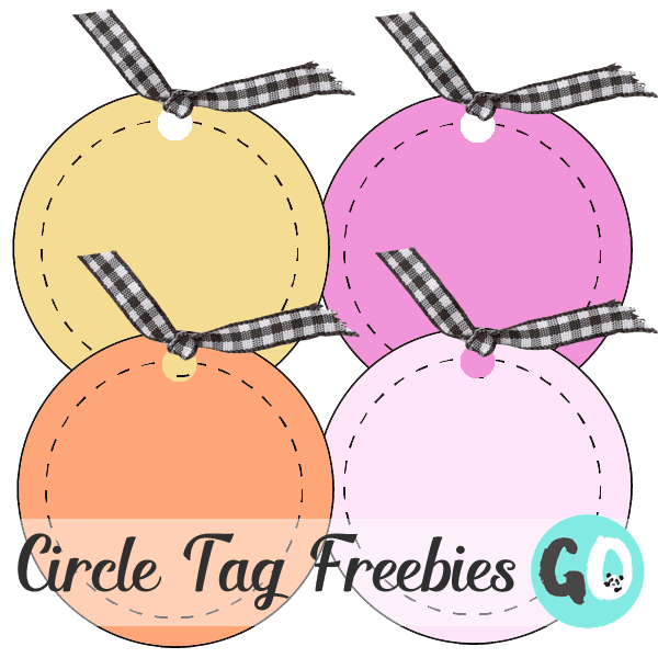 4 clipart circle tags in yellow, pink, orange, dark pink, each with a black and white gingham ribbon