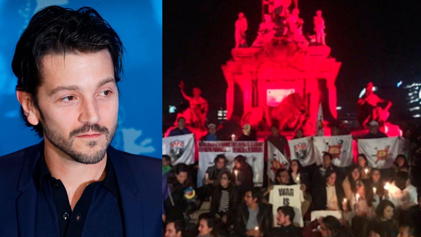 Diego Luna encabeza marcha para exigir no se apruebe la Ley de Seguridad Interior