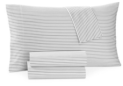 Black and white supima cotton pinstripe bed sheets