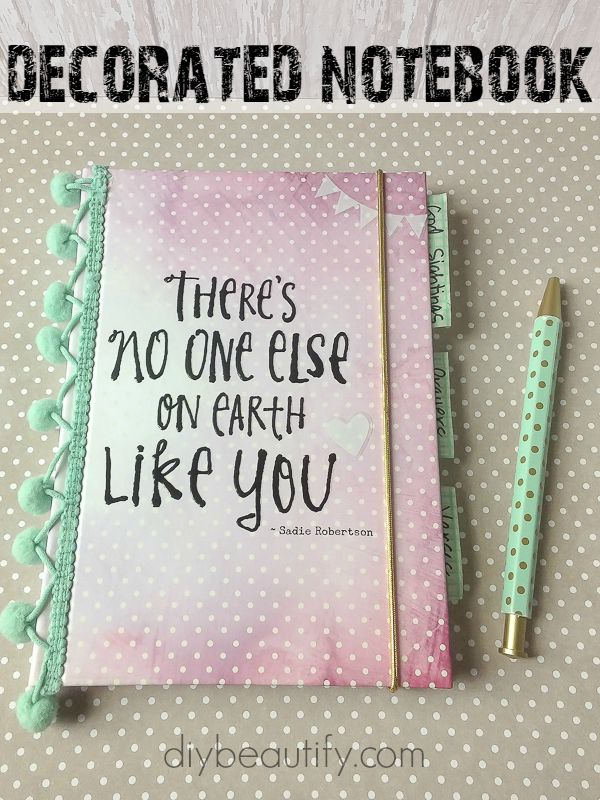 Decorated notebook for teenage girl | DIY beautify @dayspring #liveoriginal #DayspringSadieRob #pmedia #ad