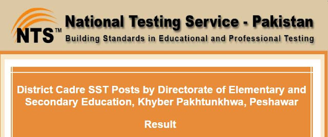 NTS Candidates List for SST Posts District Cadre  Directorate of Elementary and Secondary Education, KPK,