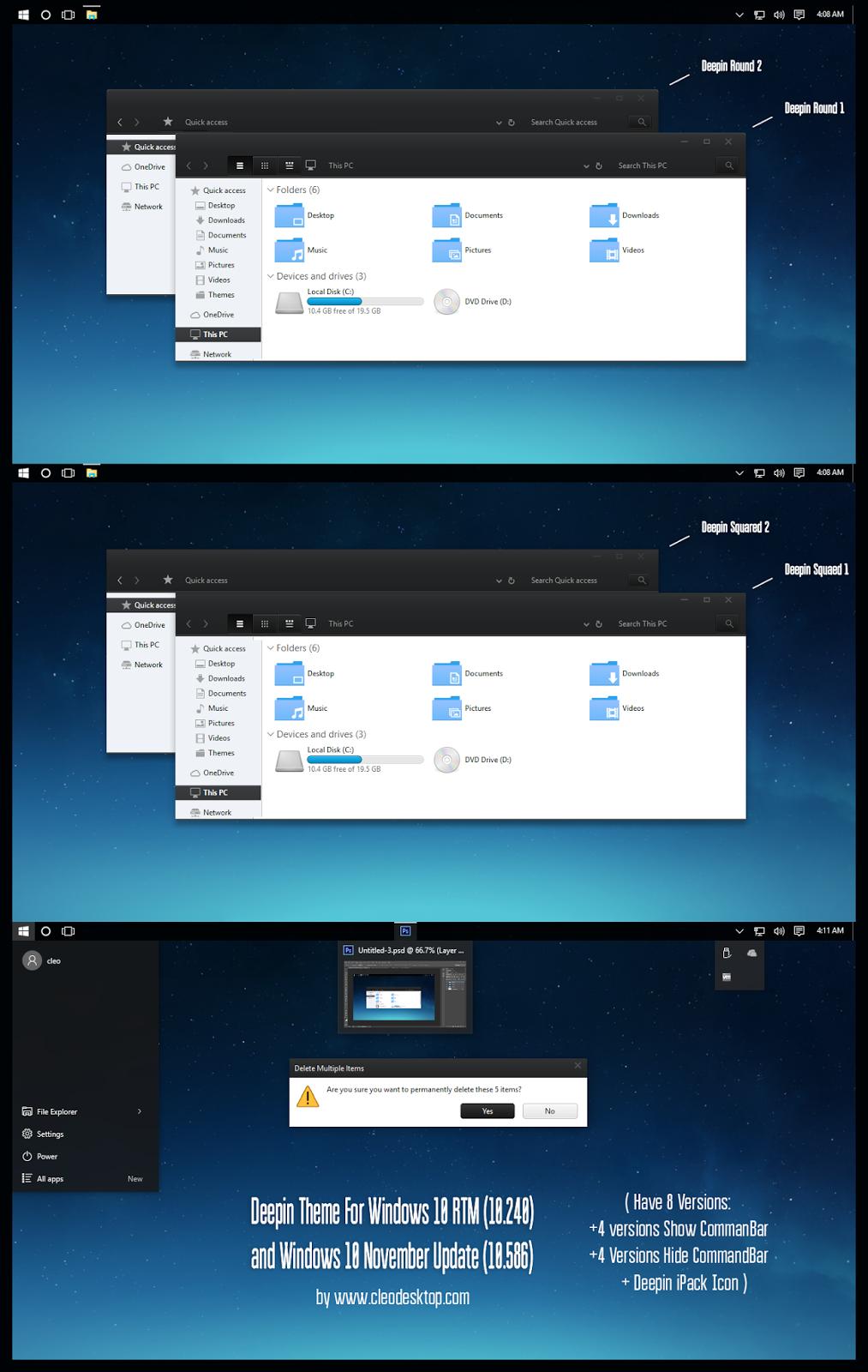 Deepin Theme For Windows10 November Update (10586)