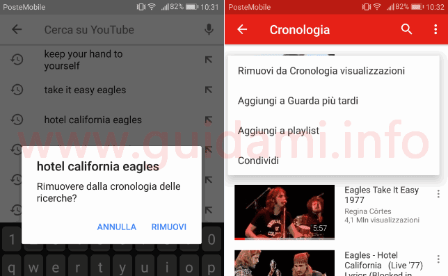 App YouTube eliminare singoli video da cronologia visti e cercati