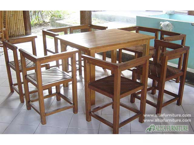 meja kursi makan set kayu jati baso salur