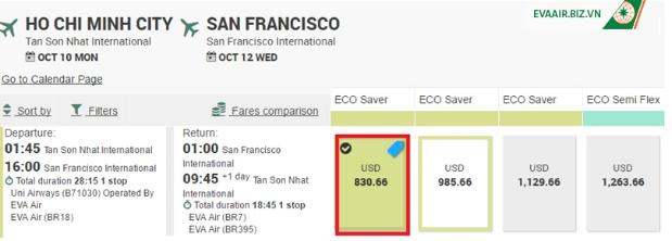 vé máy bay Sài Gòn đi san francisco