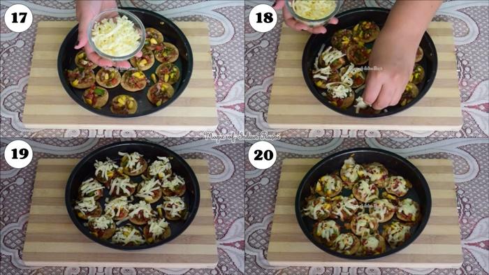 Papadi Pizza Bites - Easy Party Starter Recipe - पापड़ी पिज्जा बाइट - आसान पार्टी स्टार्टर रेसिपी - Priya R - Magic of Indian Rasoi