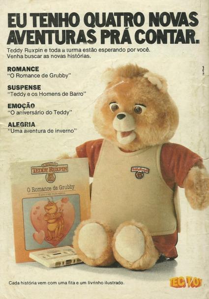 Propaganda antiga do Urso Teddy em sua versão eletrônica de 1989