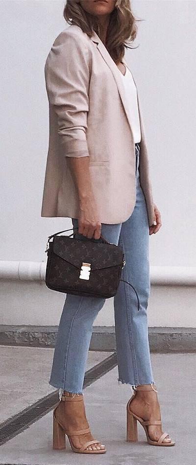stylish look | blush blazer + white top + bag + jeans + heels