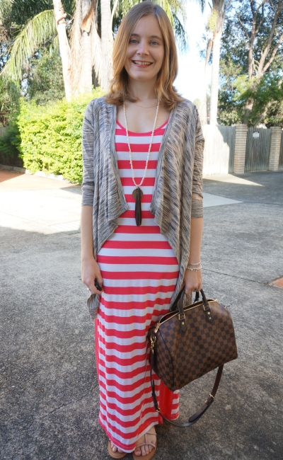 Comfy casual SAHM style striped maxi dress cardigan sandals boho outfit