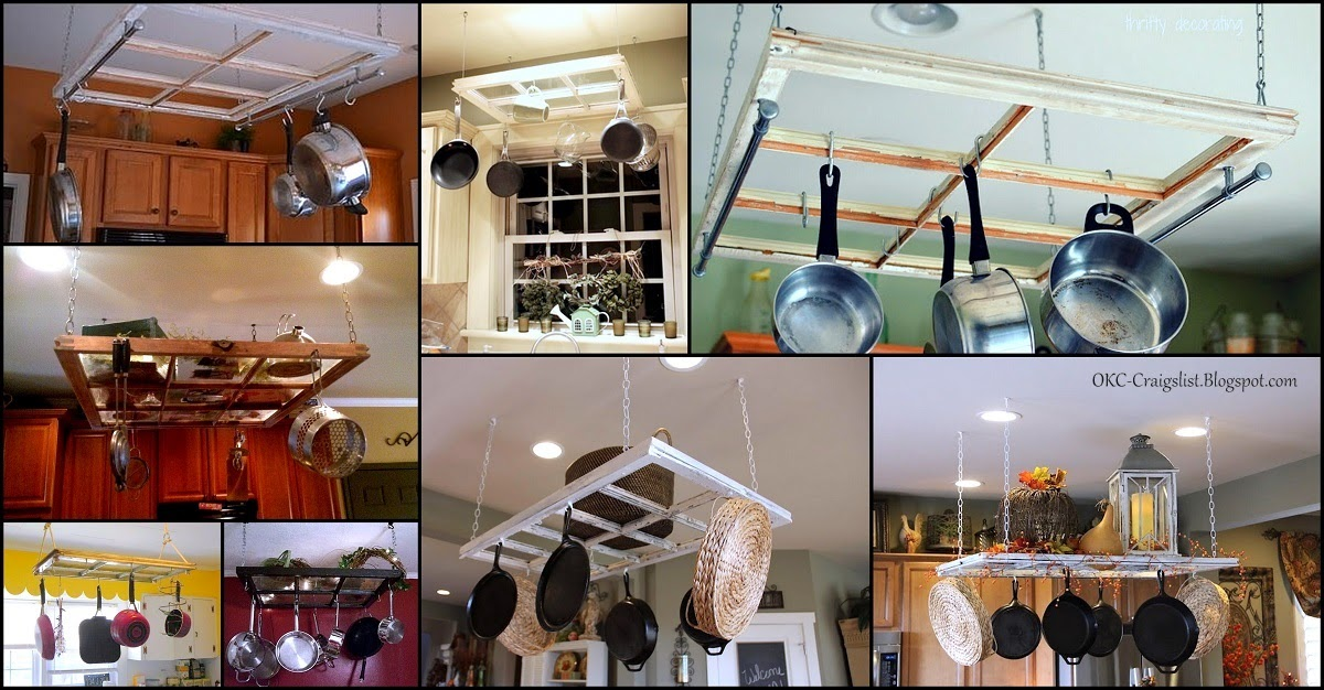 Salvaged Old Windows Repurposed into a Pot Rack | Top 5 Repurpose Ideas for Old Windows