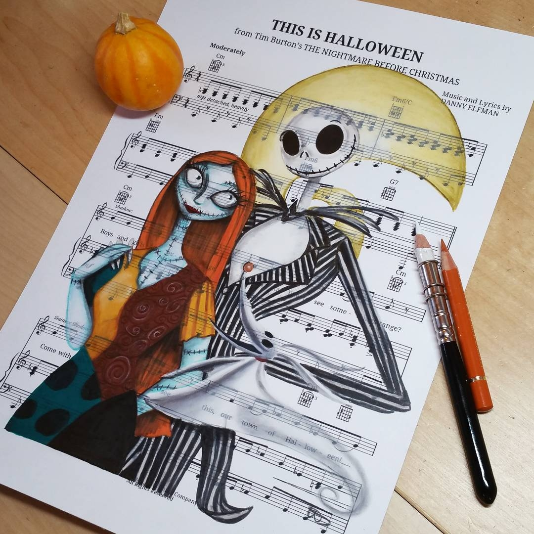 09-jack-Skellington-and-Sally-Ursula-Doughty-Animated-Movies-Drawn-on-their-Music-Scores-www-designstack-co