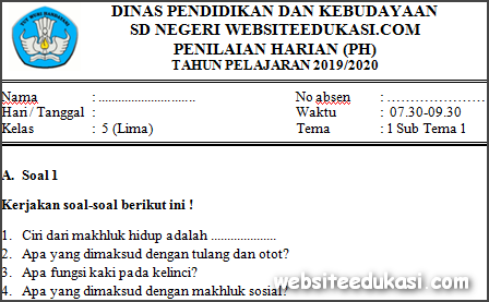 Soal PH / UH Kelas 5 Tema 1 Kurikulum 2013 Terbaru