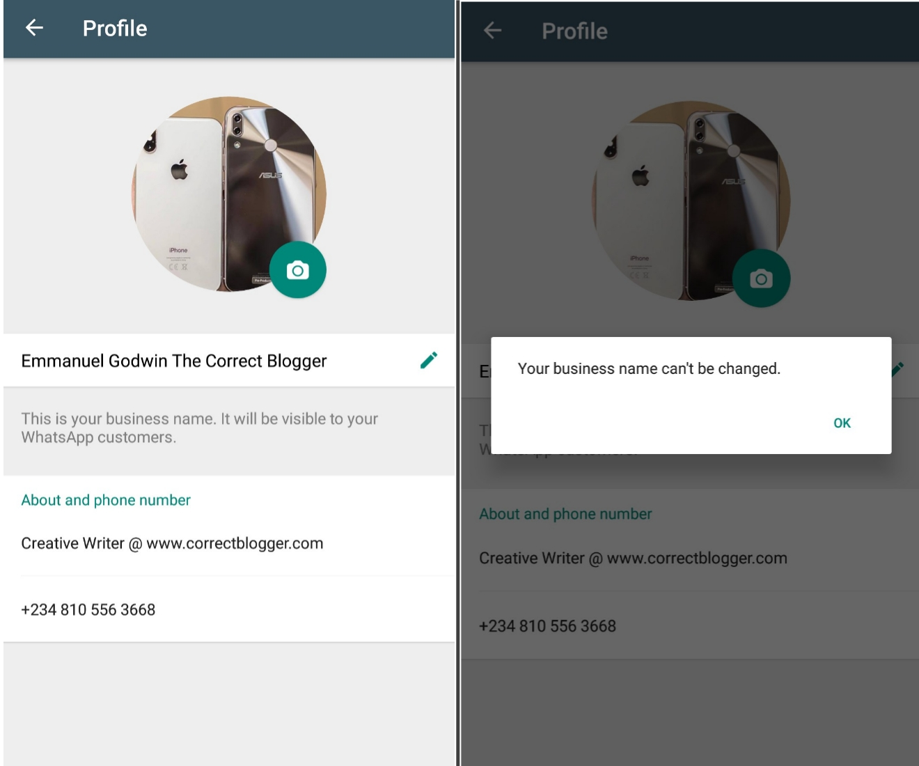 Setting up business name on the whatsapp business app