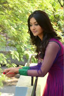 Actress Pooja Jhaveri Latest Stills in Purple Salwar Kameezt at Dwaraka Success Meet  0151.JPG