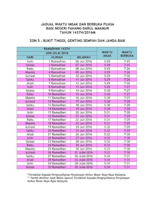 JADUAL WAKTU IMSAK DAN BERBUKA PUASA UNTUK NEGERI PAHANG  BAGI TAHUN 1437H/2016M