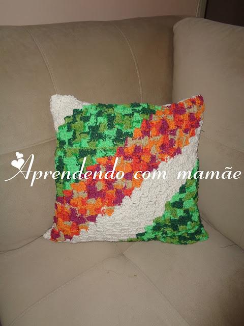 EuroRoma, Almofada em crochê, Workshop Marcelo Nunes, barbante EuroRoma, Coats Corrente, Crochê, Bazar Pilar
