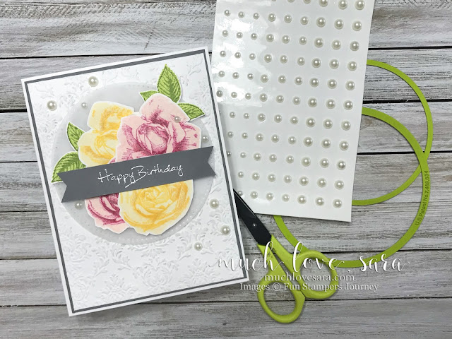 This pretty handmade birthday is made using Fun Stampers Journey Summer Rose stamp set, and Sentimental Prints stamp set.  The addition of a bit of Brushed Silver Pan Pastel highlights the dimension of the dry embossing.