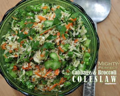 Mighty Perfect Cabbage & Broccoli Coleslaw, another easy slaw ♥ AVeggieVenture.com, colorful fresh cabbage and broccoli, cooked a little - just a little - in the microwave before adding a low-calorie vinaigrette. Cook's Illustrated Recipe. Pretty Color. Great for Meal Prep. Vegan. Gluten Free.