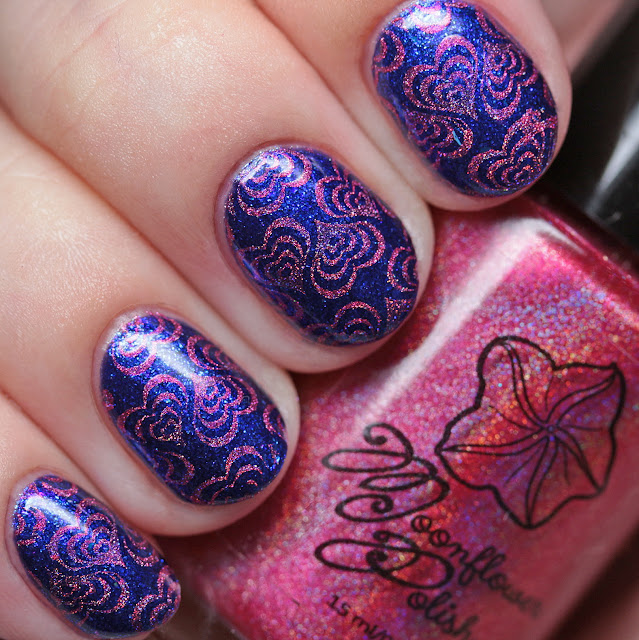 Moonflower Polish Enchanted Rose over Heather's Hues Lose Your Blues with Lina Nail Art Supplies In Motion 03