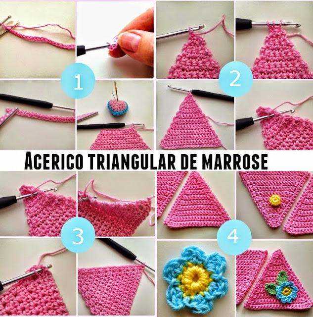 alfileteros tejidos, crochet triángulos, punto hogar
