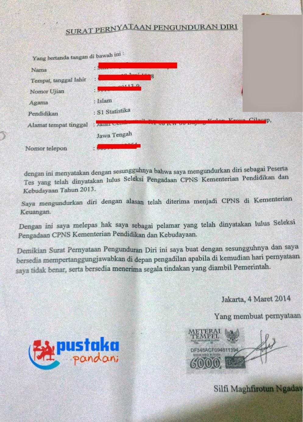 Inilah Contoh Format Surat Pengunduran Diri Cpns Pustaka Pandani