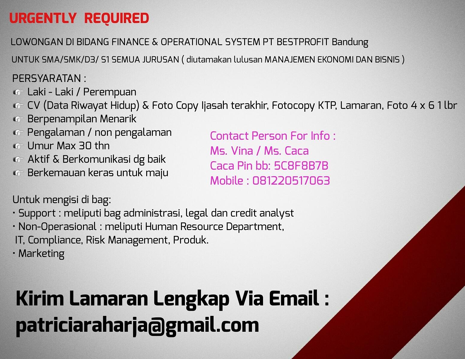 Lowongan Kerja Finance & Operational System PT. Best Profit Bandung Desember 2016