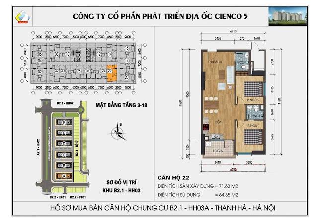 Sơ đồ thiết kế chi tiết căn hộ 22 chung cư B2.1 HH03 Thanh Hà