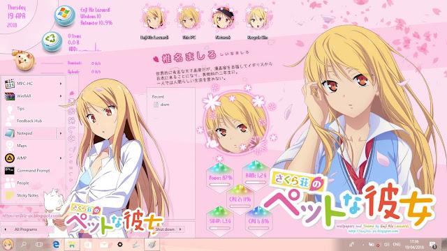Windows 10 Ver. 1709 Theme Shiina Mashiro by Enji Riz