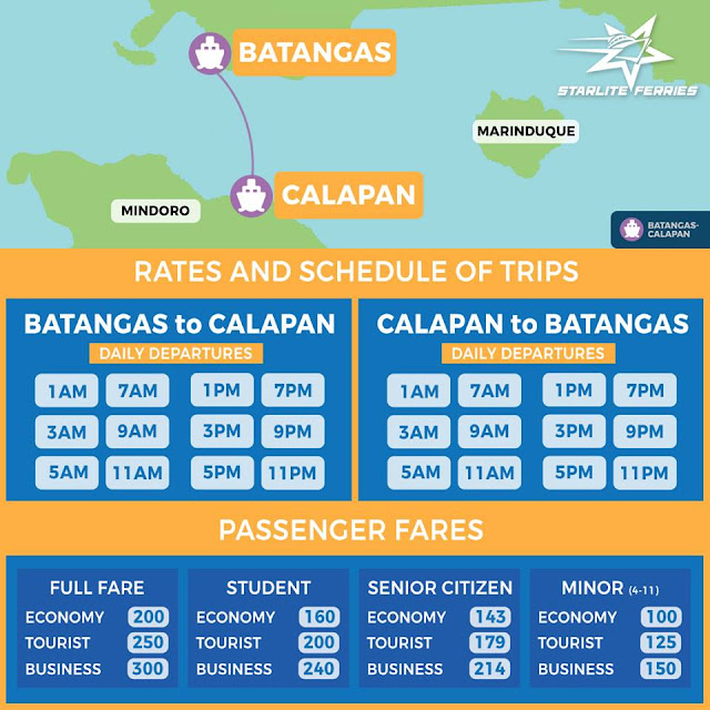 Batangas to calapan ferry schedule via starlite ferries
