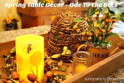 spring table decor, bee decor, prim decor