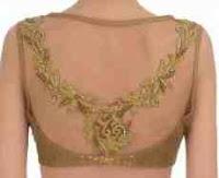 deep back neck blouses design