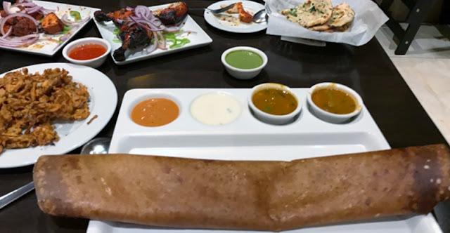 Dosa in front - Chicken Tikka & Tandoori Chicken