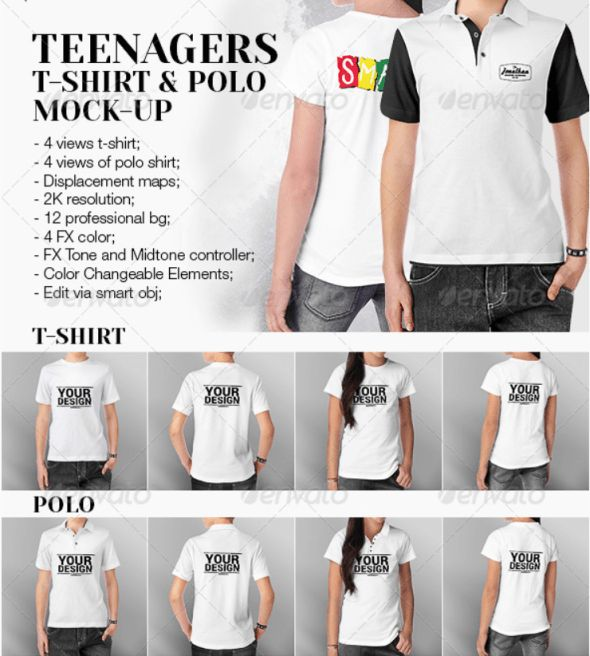 11. Teenagers T-Shirt and Polo Shirt Mockup