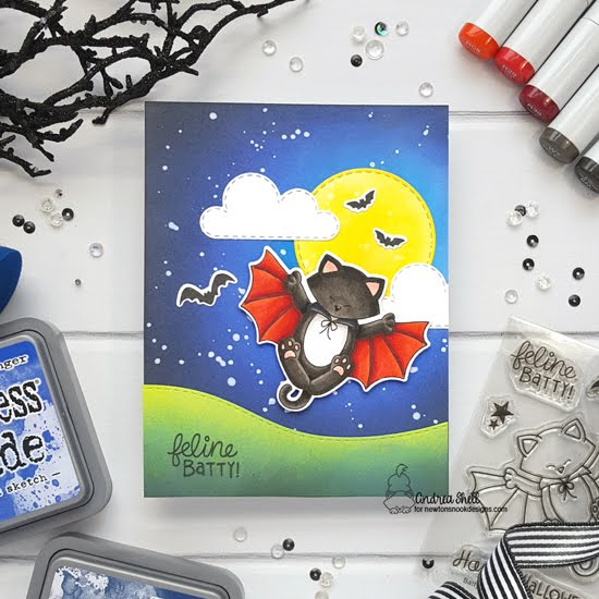 Feline Batty Card by Andrea Shell | Batty Newton Stamp Set, Land Borders Die Set, Circle Frames Die Set and Sky Scene Builder Die Set by Newton's Nook Designs #newtonsnook #handmade