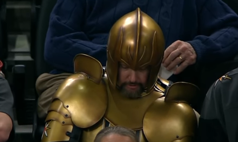 Golden Knights fan wears golden knight costume