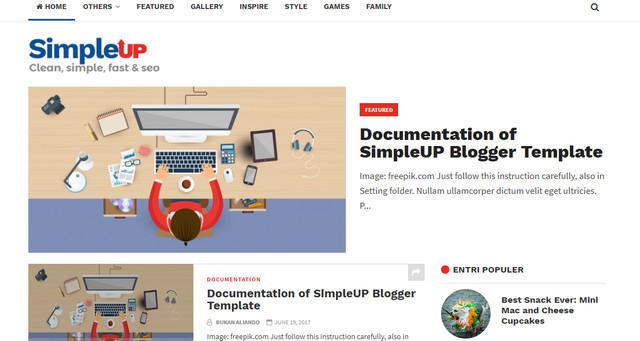 SimpleUP Clean Responsive Blogger Templates
