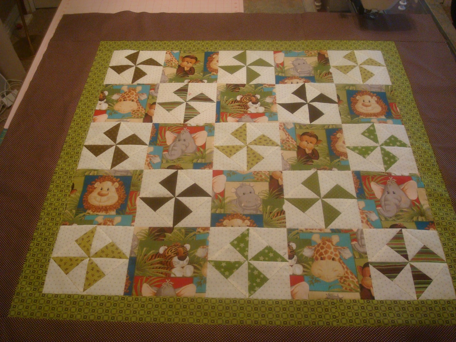 Because I Say Sew Jungle Baby Quilt Top