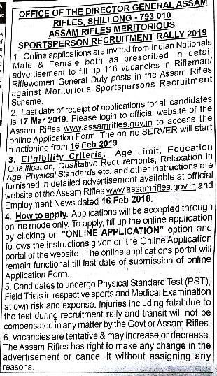 Assam Rifles Recruitment 2019 Rifleman, Havildar Clerk, Warrant