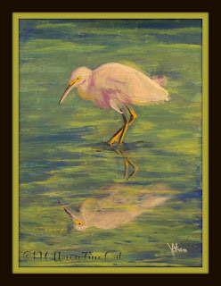 egret water bird reflection pastel painting ncwren 30in30