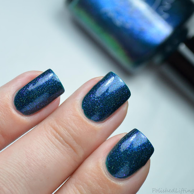 blue nail polish with shifting shimmer
