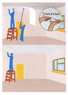 Как клеить обои на потолок