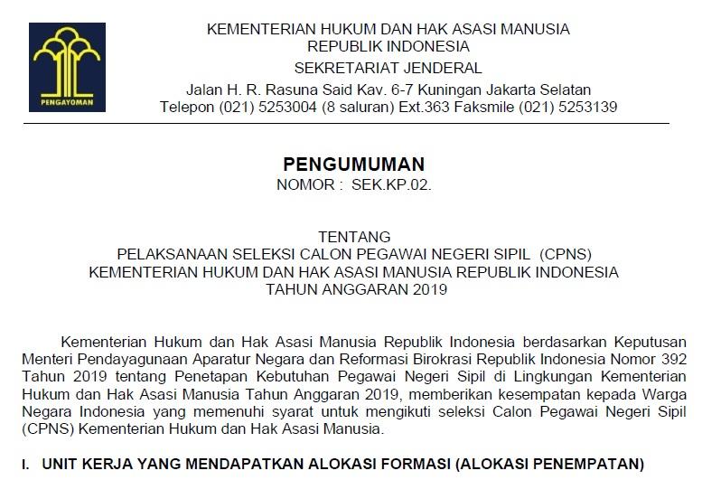 Download Formasi CPNS Kementerian Hukum dan Hak Azasi Manusia Tahun 2019