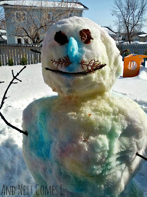 Spray Painted Snowman: A fun winter activity for kids from And Next Comes L