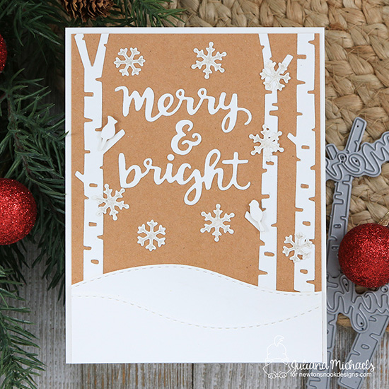 Merry & Bright Card by Juliana Michaels | Forest Scene Builder, Holiday Greetings, Land Borders and Snow Globe Shaker Dies by Newton's Nook Designs #newtonsnook #handmade