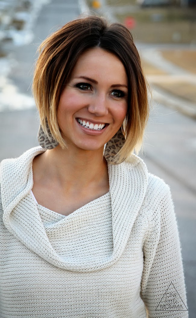 Cream sweater and leopard print earrings. Love this short ombre hair
