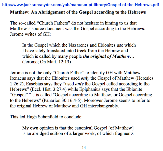"""the Gospel which the Nazarenes and Ebionites use"" (Jerome; On Mat. 12:13)"
