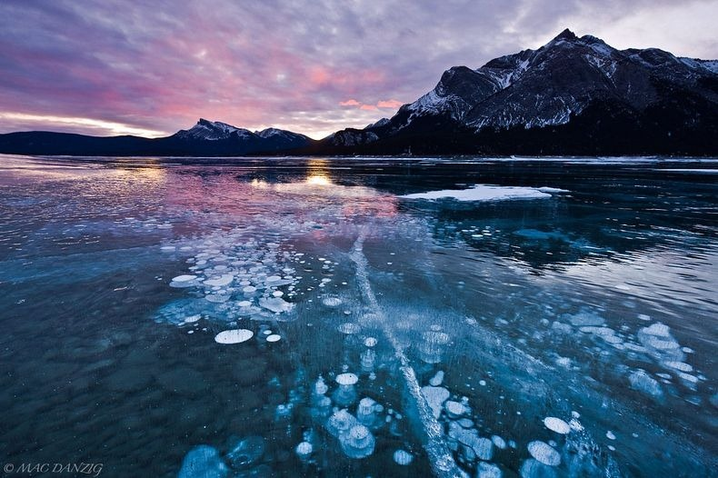 Frozen Air Bubbles in Abraham Lake, Alberta Canada 1
