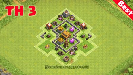 formasi clash of clans town hall 3 hybrid base layout